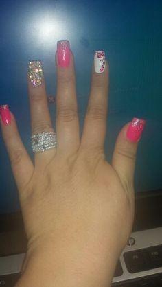 Solar nails,  design,  diamonds, hot pink, cheetah,  my own nails