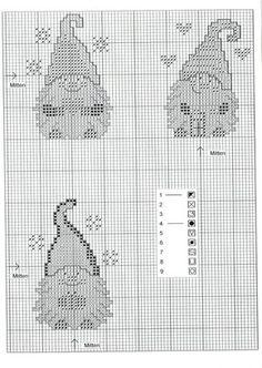 Cross-stitch Santa Gnomes, part 3 of 3...  color chart on part 2
