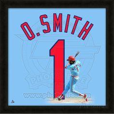 Ozzie Smith, Cardinals representation of the player's jersey Framed Memorabilia