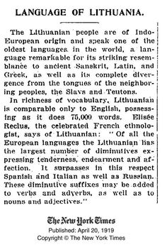 What the New York Times newspaper wrote about the Lithuanian language in 1919//