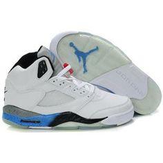 849b295d8fe651 Nike Air Jordan 5 Retro Mens Shoes in White Blue Black