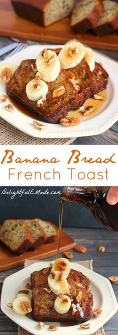 Cinnamon Roll French Toast Bake A simple, easy French toast recipe made with thick slices of moist, delicious banana bread, its the ultimate breakfast or brunch dish! Recipes Breakfast French Toast, Banana Bread French Toast, Healthy French Toast, Cinnamon Roll French Toast, Breakfast Toast, French Toast Bake, Breakfast Dishes, Second Breakfast, Breakfast Healthy