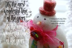 christmas typography, typography overlay, calligraphy overlay, christmas clip art, photography overlay, most wonderful time of the year by OurFriendsEclectic on Etsy