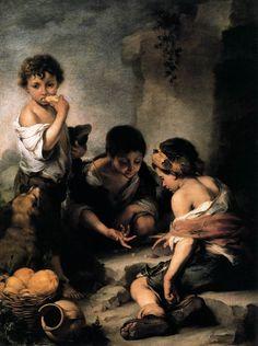 Niños jugando a los dados.