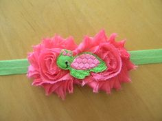 sea turtle pink/lime green shabby flower by GracieDevine on Etsy, $8.00 www.graciedevine.etsy.com