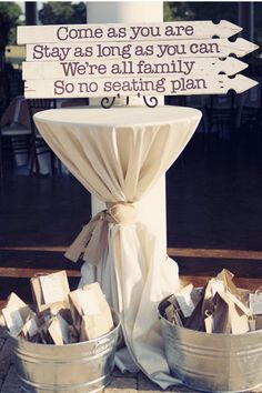 "A great trend happening in weddings now is the ""no seating plan."" Show it off with a cute sign like this! #alleventrental #beeridgeflorist"