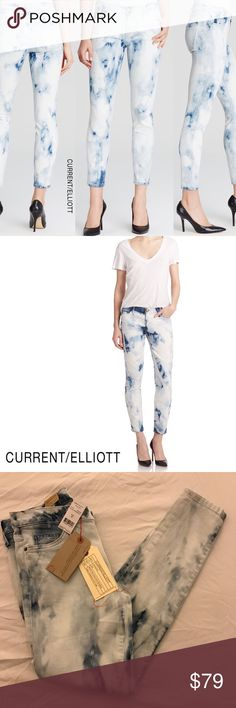 """Current/Elliott The Stiletto Cropped Skinny Jean Current/Elliott Size 28 - Inseam: 27""""; Length: 36"""" The Stiletto Ankle Jeans, Indigo Summer Tie Dye Current/Elliott cropped ankle jeans in tie dye.  Five-pocket style. Medium rise. Fitted through skinny legs. Hem cropped above ankle. Button/zip fly; belt loops. Cotton/EME/spandex. Made in USA of Italian material. Current/Elliott Jeans Skinny"""