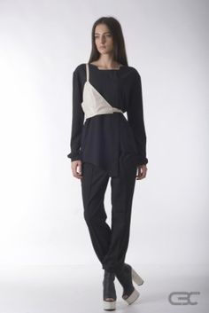Crepe Black Collar black shirt with double-sided cream and grey accessory and black loose pants. Check out the online shop for details. Loose Pants, Fall Winter 2014, Normcore, Pullover, Cream, Shirts, Clothes, Shopping, Collection