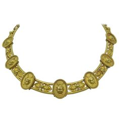 Rare Antique English Victorian Cupids Love Trophies  Gold Necklace | From a unique collection of vintage choker necklaces at https://www.1stdibs.com/jewelry/necklaces/choker-necklaces/