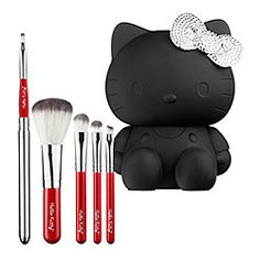 What it is:A five-piece brush set with a collectible Hello Kitty container in a matte black finish.What it does:This brush set comes in a Hello Kitty holder with a My Beauty, Beauty Makeup, Beauty Hacks, Black Beauty, Beauty Tips, Sephora, Hello Kitty Makeup, Princess Kitty, Kawaii
