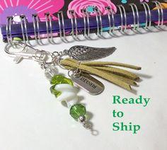 Planner charm. Planner goodies. Angel charm. Planner stuff. Inspirational gift. Angel wings. Spiral notebook. Dangle charm. Planner tassel. by LaBellaBottega13 on Etsy