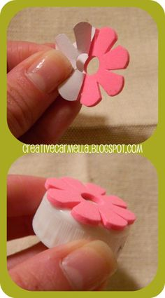 "BOTTLECAP STAMPS ""I saw the bottle cap stamp idea on Pinterest and it was one of those moments like, ""why didn't I think of this??"" Anyway…here's what you do to make one….are you ready…..it's going to blow your mind… put.the.sticker.on.the.cap I t"