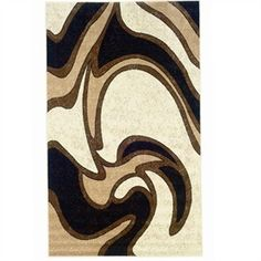 Brown And Beige Bathroom Capri Black Swirl Decorative Area Rug By