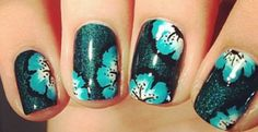 Nails glue and green flowers