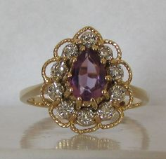 Vintage Pear Amethyst and Diamond Ring, $225 | 45 Engagement Rings Inspired By Disney Princesses
