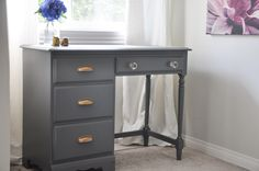 Desk Makeover - Grey and Gold Accents - With the Homeright Finish Max Paint Sprayer