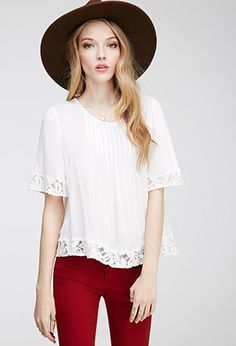 Pintucked Floral-Embroidered Top | FOREVER21 - 2000118767