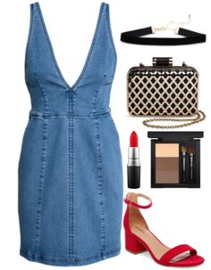 How to wear a v neck denim mini dress for a night out: Outfit idea with red strappy block heel sandals, red lipstick, criss cross metallic and black box clutch, black choker necklace