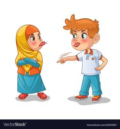 Muslim girl and boy mock each other by showing their tongues cartoon character design vector illustration, isolated against white background. Character Design Challenge, Character Design Sketches, Character Design Cartoon, Character Design Animation, Design Alien, Palm Tree Drawing, Angry Child, Anime Muslim, Art Anime