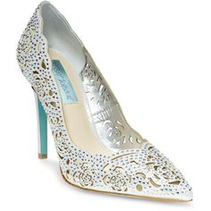 Betsey Johnson Elsa Embellished Fabric Cutout Pumps ($139) ❤ liked on Polyvore featuring shoes, pumps, silver, slip on shoes, cut out shoes, decorating shoes, cushioned shoes and slip on pumps