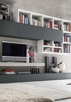 Easy Living - In House Designs - Kitchen Furniture - Wardrobes - Doors - Accessories - Patra Living Room Built Ins, Living Room Wall Units, Bookshelves In Living Room, Living Room Tv Unit Designs, Ikea Living Room, Living Room Cabinets, Living Room Modern, Tv Wall Design, Design Case