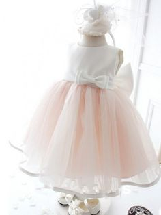 Ball Gown Jewel Floor-Length Organza Flower Girl Dress With Bowknot