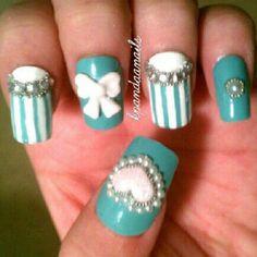 Tiffany inspired nails! Super cute!