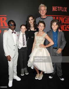 Actors Caleb McLaughlin, Noah Schnapp, Winona Ryder, Millie Bobby Brown, Matthew Modine and Gaten Matarazzo attend the premiere of 'Stranger Things' at Mack Sennett Studios on July 11, 2016 in Los Angeles, California.