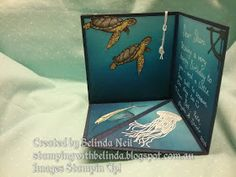 Stampin' Up! Corner Fold Card. From Land to Sea- Sponging & Watercolouring