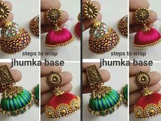 Hello friends In this video I am sharing steps to wrap jhumka base in 4 different ways. Silk Thread Earrings Designs, Silk Thread Bangles Design, Silk Thread Necklace, Silk Bangles, Thread Bracelets, Thread Jewellery, Jewellery Diy, Terracotta Jewellery Making, Terracotta Jewellery Designs