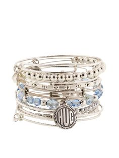 women's alex and ani bracelet sets | Set Of 11 Silver & Blue Hug Bangles by Alex & Ani at Gilt