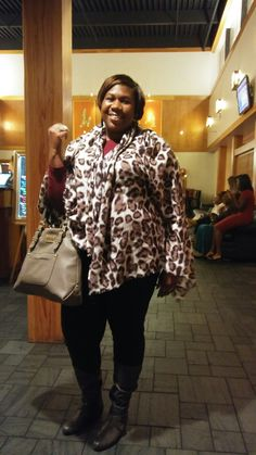 Cranberry winter dinner Fun scarf wrapped like a jacket.. Fun fliry gray boots and purse to match.. Get you some spots darling.. BBW ON IT.. YOU GOTTA LOVE YOUR SELF❤❤❤💋 EMBRACE THE BEAUTY OF LOVE