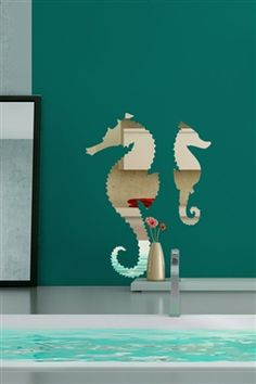 Wall Decals Seahorse Mirror -Reflective Decals