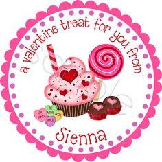 Valentine Stickers - Valentine Candy - Personalized Stickers, Labels, Favor Stickers, Valentines Day, Choice of Size