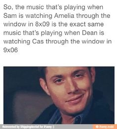 They do this frequently during the 8th and 9th seasons. They'll have a romantic storyline, then set up a Dean/Cas scene with the same lighting, same camera angles, same music (EXACTLY THE SAME). They'll even have Dean and Cas repeat the same lines between the couples verbatim. The narrative screams Destiel but no one is making it explicitly canon. There is so much implicit evidence it makes me want to cry. The writers either plan on eventually sailing the ship or they're teasing us.
