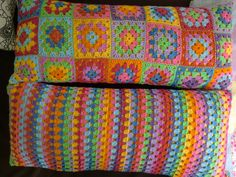 Way up north. Sweden blog - granny square and stripe crocheted pillows - love the fun colors.