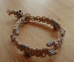 Organic Hemp Bracelet or Anklet with silver Tube and Turtle Beads