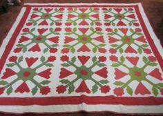 76in x 75in. Civil War Era Rose of Sharon w/Coxcombs Antique Applique Quilt w/Provenance
