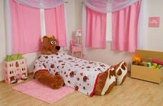 Decoracion Hogar - Comunidad - Google+ Cool Toddler Beds, Toddler Tent, Cool Beds For Kids, Toddler Girl Bedding Sets, Girls Bedding Sets, Pink Bedding, Creative Beds, Dreams Beds, Doll Beds