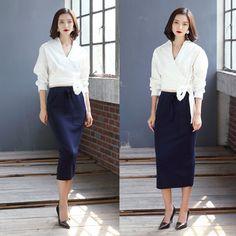 ブラウス・シャツ 【2015AW】 韓国新作 上品で優雅さ漂う長袖 白 トップスブラウス(2)