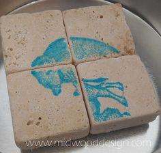 Buffalo puzzle magnets ivory travertine teal blue by midwooddesign
