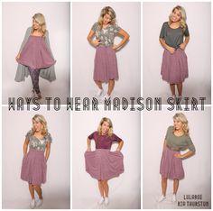 LuLaRoe Madison Skirt! Ways to wear the LuLaRoe Madison! Pleats, pockets & flair. LOVE this skirt! Join our Group for styling videos & HUGE LuLaRoe Inventory: www.LuLaRoeRiaThurston.com