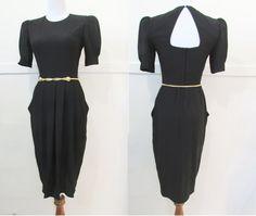 Vintage 80's Dress Black  S by GoodNPlentyVinty on Etsy, $45.00