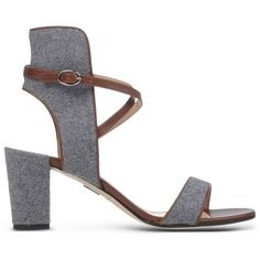 Paul Andrew Lexington Wool Felt Sandal (11.656.295 IDR) ❤ liked on Polyvore featuring shoes, sandals, grey, paul andrew, cutout sandals, grey sandals, leather sole shoes and cut-out shoes