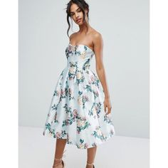 Chi Chi London Structured Bandeau Midi Dress (132 CAD) ❤ liked on Polyvore featuring dresses, multi, calf length dresses, fit and flare midi dress, bridesmaid dresses, bandeau midi dress and fit and flare dress