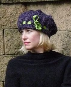 Ladies Purple Knit Hat with Green Ribbon by lovemyknits on Etsy, $18.00