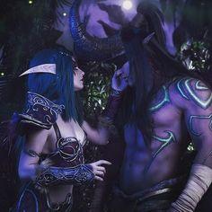 "Páči sa mi to: 313, komentáre: 1 – Warcraft & Diablo & Blizzard (@kalimdor_ir) na Instagrame: ""Tyrande & illidan💗🔥💥😍. . . Tyrande: @likeassassin  illidan: @donatello_cosplay . . . .…"" Wow Elf, Illidan Stormrage, World Of Warcraft 3, Night Elf, Cos Play, Professional Dresses, Aesthetic Grunge, Smile Face, Elves"