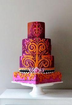 Indian Wedding Cake – cake by Albena – CakesDecor - Coiffures De Mariage Indian Wedding Cakes, Purple Wedding Cakes, Unique Wedding Cakes, Beautiful Wedding Cakes, Gorgeous Cakes, Wedding Cupcakes, Wedding Cake Toppers, Cake Wedding, Indian Weddings