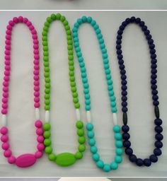 Changeablechewables.com  (TM) Teething necklace converts into smaller necklaces and bracelet. Comes with attachment to connect to pacifiers, strollers, car seats ect. Features two breakaway clasp that release when pulled on with 2 lbs of pressure or more to aid in a safety device.