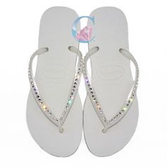 4a71eb5e76176 White Havaianas Covered In SWAROVSKI Crystal Bling Flip Flops - 1 Row. It s  Crystalicious® · Havaianas · Black Thick Strap ...